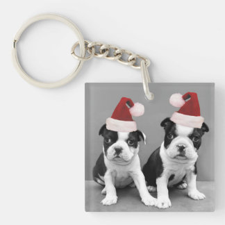 Christmas Boston Terrier puppies Single-Sided Square Acrylic Keychain