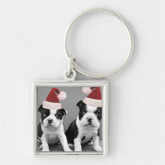 Christmas Boston Terrier puppies Key Chain