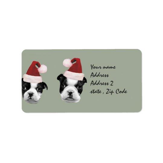 Christmas Boston Terrier puppies Label