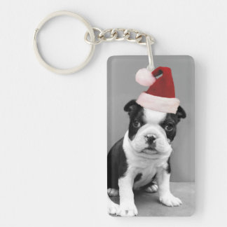 Christmas Boston Terrier puppies Single-Sided Rectangular Acrylic Key Ring