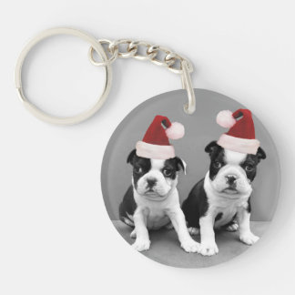 Christmas Boston Terrier puppies Single-Sided Round Acrylic Key Ring