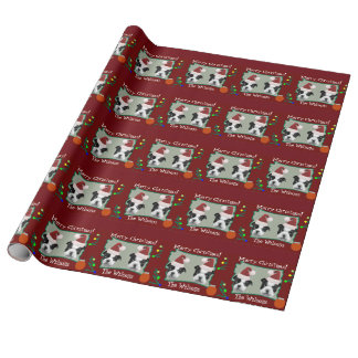 Christmas Boston Terrier puppies Wrapping Paper