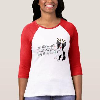 Christmas Boston Terrier Reindeer Dog T-Shirt