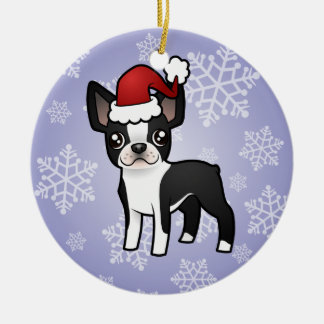 Christmas Boston Terrier Round Ceramic Decoration