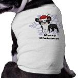 Christmas Boston Terrier Sleeveless Dog Shirt