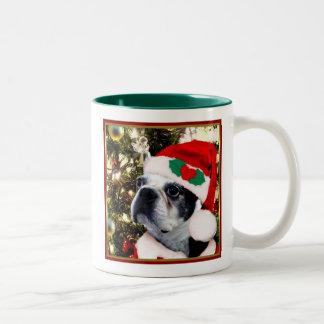 Christmas Boston terrier Two-Tone Mug