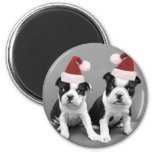 Christmas Boston Terriers 6 Cm Round Magnet