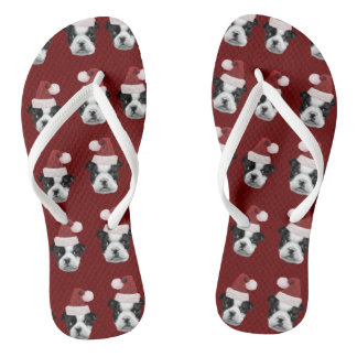 Christmas Boston Terriers Flip Flops