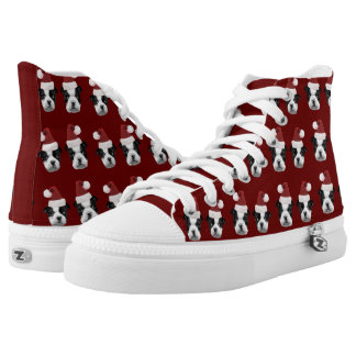 Christmas Boston Terriers  high top tennis shoes