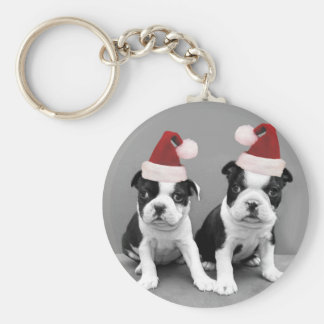 Christmas Boston Terriers Key Chain