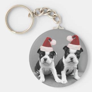 Christmas Boston Terriers Key Chain
