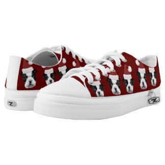 Christmas Boston Terriers Low Tops