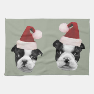 Christmas Boston Terriers Tea Towel