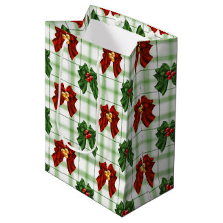 Christmas bow pattern medium gift bag