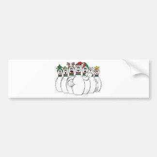 Christmas Bowling Pins Bumper Sticker