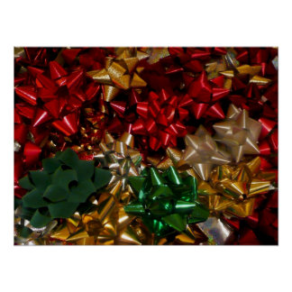 Christmas Bows Colorful Festive Holiday Poster
