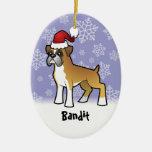 Christmas Boxer (add your pets name) Christmas Tree Ornament