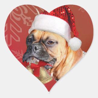 Christmas Boxer dog Heart Sticker