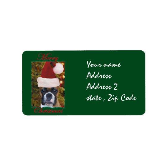 Christmas Boxer dog Label