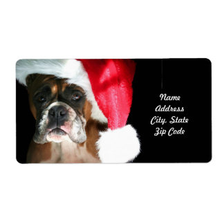Christmas Boxer Dog Shipping Label