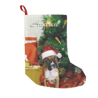 Christmas Boxer dog stocking