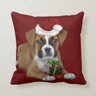 Christmas Boxer Dog throw pillow