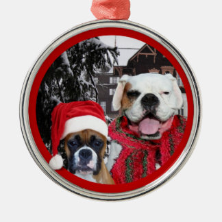 Christmas boxer dogs premium round ornament