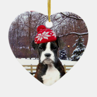 Christmas Boxer puppy dog Ceramic Heart Decoration