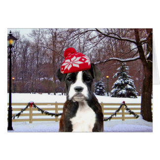 Christmas Boxer puppy dog Greeting Card