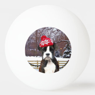 Christmas Boxer puppy dog Ping-Pong Ball