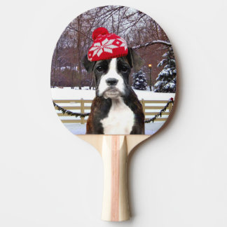 Christmas Boxer puppy dog Ping Pong Paddle