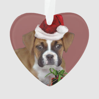 Christmas Boxer puppy heart ornament