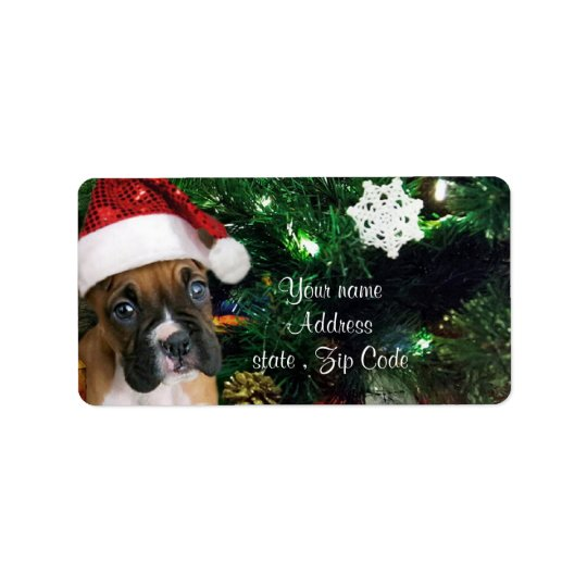 Christmas boxer puppy label