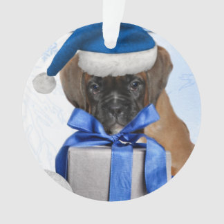 Christmas Boxer puppy round ornament