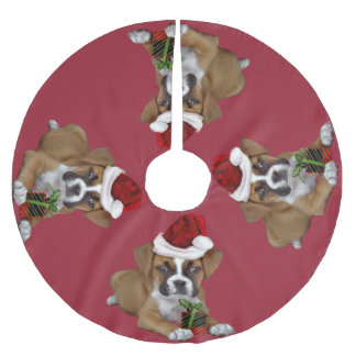 Christmas Boxer Puppy Tree Skirt