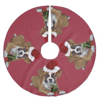 Christmas Boxer Puppy Tree Skirt Brushed Polyester Tree Skirt