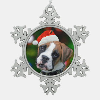 Christmas Boxer Snowflake Pewter Christmas Ornament