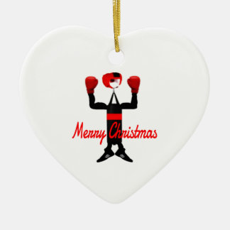 Christmas Boxing Cartoon Ceramic Heart Decoration