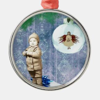 Christmas Boy With His Angel Christmas Ornament