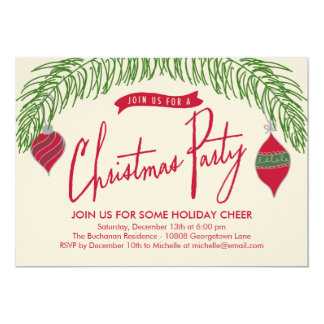 Christmas Branches Christmas Party Invitation
