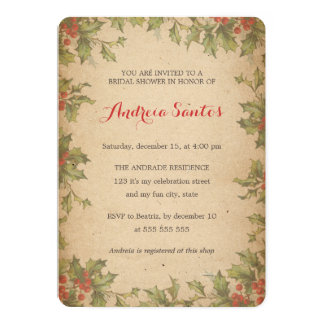 Christmas Bridal Shower Party Vintage Holly Wreath 5x7 Paper Invitation Card