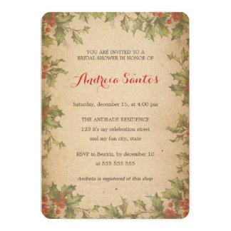 Christmas Bridal Shower Vintage Holly Wreath Invitation Cards
