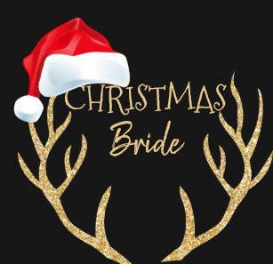 5db6bf097d1e5 Christmas Bride Santa Hat Gold Reindeer Antlers T-Shirt