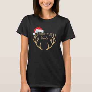 Christmas Bride Santa Hat Gold Reindeer Antlers T-Shirt
