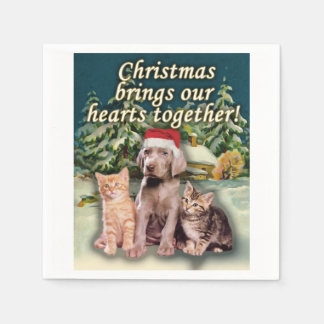 Christmas Brings Our Hearts Together Puppy Kitten Disposable Serviette
