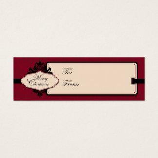 Christmas Brocade Red Gift Tag