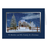 Christmas, Brother and Family, Winter Scene Greeting Card