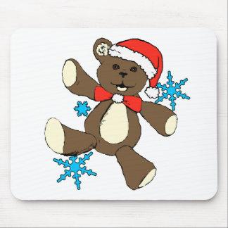 Christmas brown bear mouse pad