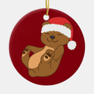 Christmas Brown Bear with Red Santa Hat Round Ceramic Decoration