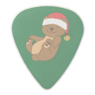 Christmas Brown Bear with Santa Hat & Jingle Bell Acetal Guitar Pick